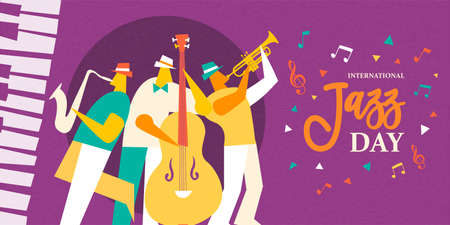 Illustration for International Jazz Day illustration of live music band playing diverse musical instrument in concert or festival event. - Royalty Free Image