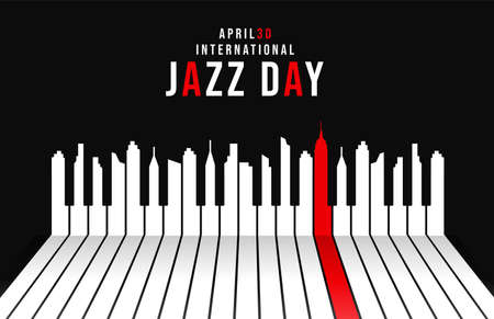 Illustration pour International Jazz Day concept illustration for music celebration event. Piano keys as city skyline silhouette at night. - image libre de droit