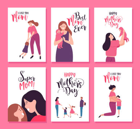 Illustration pour Happy Mothers Day greeting card set of cute mother illustrations. Includes pregnant woman, newborn baby and family surprise with special text quotes.  - image libre de droit