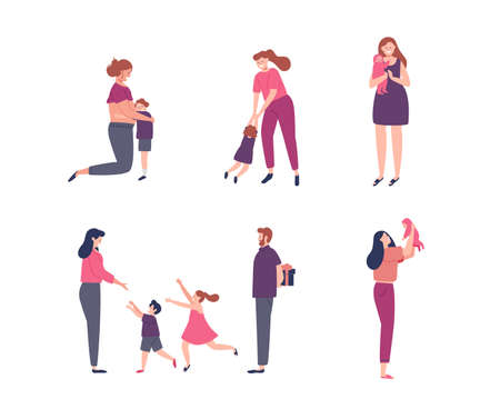 Illustration for Women and children illustration set for motherhood concept, pregnancy, family holiday or mothers day. - Royalty Free Image