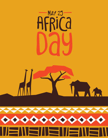 Illustration pour Africa Day greeting card illustration with traditional african style art decoration and wild animals. - image libre de droit
