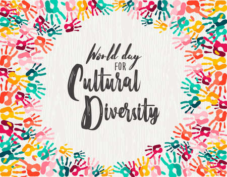 Illustration pour Cultural Diversity Day illustration of colorful human hand prints together for love and support. - image libre de droit