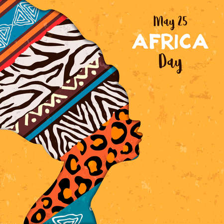 Illustration pour Africa Day greeting card illustration for 25 may celebration. African woman head with ethnic animal print textures. - image libre de droit