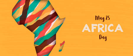 Illustration pour Africa Day banner illustration for 25 may celebration. African continent papercut map with colorful abstract art. - image libre de droit