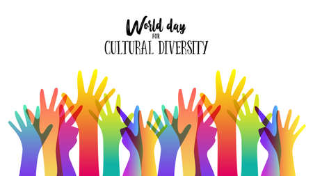 Illustration pour Cultural Diversity Day illustration card of diverse human hands united for social freedom and peace. - image libre de droit