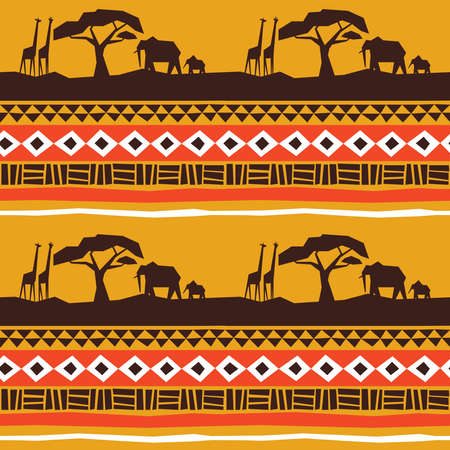 Illustration pour African art seamless pattern. Africa landscape with animals and traditional tribal style decoration background. - image libre de droit