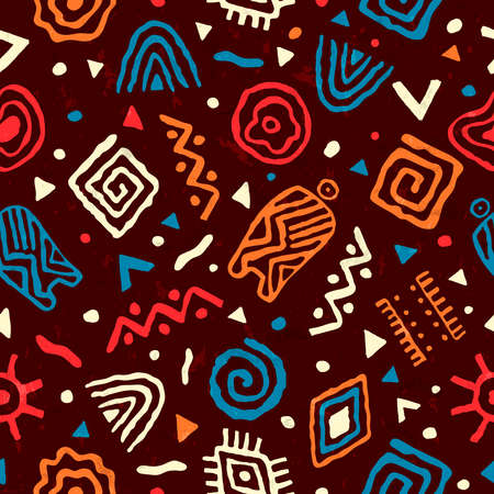 Ilustración de Abstract african art style seamless pattern. Hand drawn tribal decoration background with boho doodle shapes and ethnic symbols. - Imagen libre de derechos
