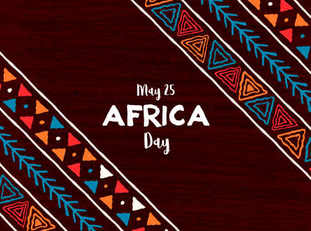 Illustration pour May 25 Africa Day greeting card illustration with traditional tribal hand drawn art for african freedom holiday. - image libre de droit