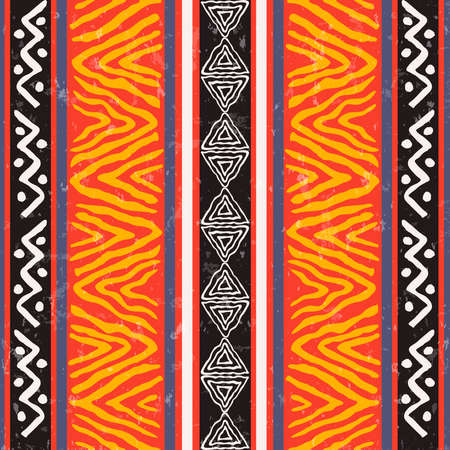 Illustration for African art seamless pattern illustration with colorful tribal decoration. Wild boho background design. - Royalty Free Image