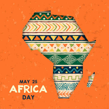 Illustration pour Africa Day greeting card illustration for 25 may celebration. African continent papercut map with traditional tribal art decoration. - image libre de droit