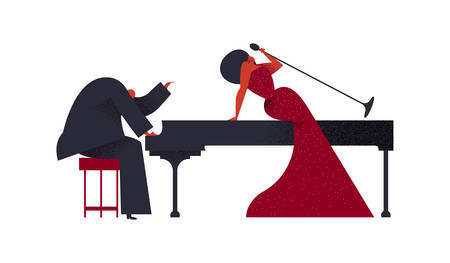 Illustration for Jazz concert concept. Man playing piano with woman singer on isolated white background for music festival or event. - Royalty Free Image