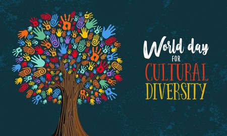 Illustrazione per Cultural Diversity Day illustration for help and social love. Tree made of colorful human hands concept. - Immagini Royalty Free