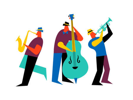 Illustration for Jazz band on isolated white background. Male music players with saxophone, double bass and trumpet. - Royalty Free Image