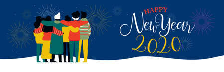 Illustration pour Happy New Year 2020 bannerillustration of young people friend group hugging together with fireworks in night sky. Diverse culture friends team celebrating. - image libre de droit