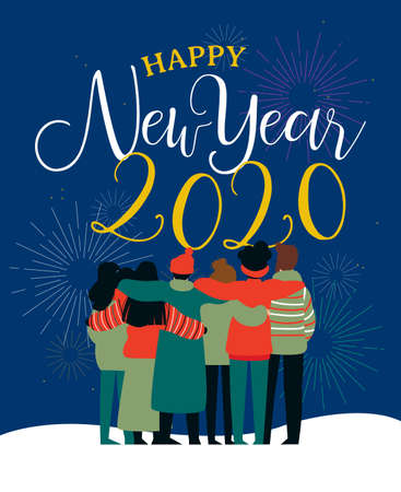 Ilustración de Happy New Year 2020 greeting card illustration of young people friend group hugging together with fireworks in night sky. Diverse culture friends team celebrating. - Imagen libre de derechos