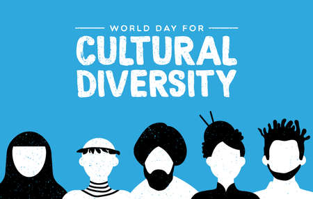 Illustrazione per Cultural Diversity Day greeting card illustration. Diverse social group of people includes african, asian and american cultures. - Immagini Royalty Free