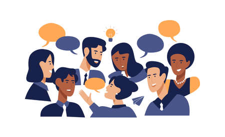 Illustrazione per Diverse office people talking at brainstorming business meeting. Professional multi ethnic work colleagues in conversation with speech bubbles on isolated white background - Immagini Royalty Free