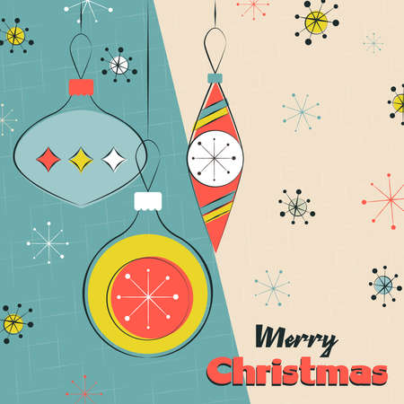 Illustration for Merry Christmas greeting card illustration. Retro xmas hanging ornament baubles season background. - Royalty Free Image