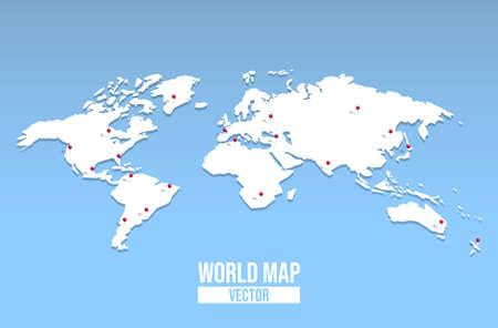 Illustration pour 3d world map  with red pin locations. - image libre de droit
