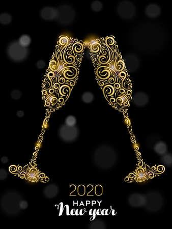 Illustration for Happy New Year 2020 greeting card illustration. Luxury gold glass drinks making celebration toast on black background for elegant holiday event. - Royalty Free Image