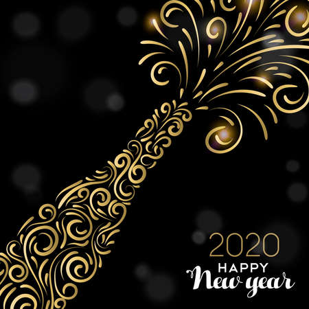 Illustrazione per Happy New Year 2020 greeting card illustration. Luxury gold champagne bottle on black background for elegant holiday celebration. - Immagini Royalty Free