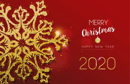 Illustration pour Merry Christmas and Happy New Year 2020 message with gold snowflake made of realistic golden glitter dust. Ideal for holiday card or luxury party invitation. - image libre de droit