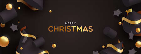 Illustrazione per Merry Christmas web banner illustration. Abstract 3d ornaments on black color background with luxury gold decoration. - Immagini Royalty Free