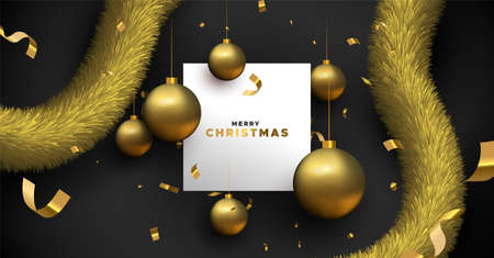 Illustration for Merry Christmas greeting card template. Illustration of realistic black background and 3d ornament baubles with white copy space frame. - Royalty Free Image
