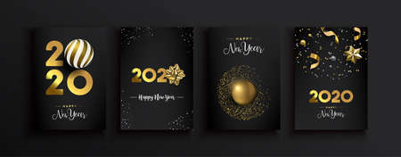 Illustration pour Happy New Year 2020 greeting card set of luxury 3d gold glitter decoration on modern elegant black background. Includes gift ribbon, bauble and festive confetti. - image libre de droit