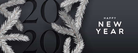 Illustrazione per Happy new year 2020 web banner illustration of elegant black background with paper cut calendar number and 3d pine tree decoration. - Immagini Royalty Free