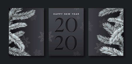 Illustration pour Happy new year 2020 greeting card set of elegant black background with paper cut calendar number and 3d pine tree decoration. - image libre de droit