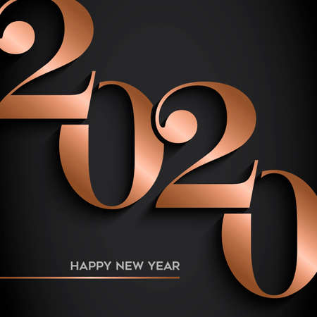 Illustrazione per Happy New Year holiday greeting card. Luxury copper calendar number design on black background for party invitation or 2020 years eve event. - Immagini Royalty Free