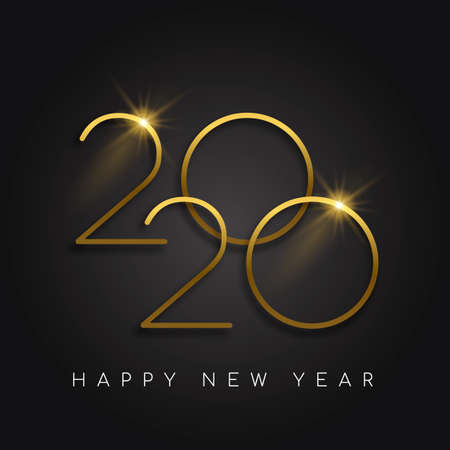Illustrazione per Happy New Year 2020 gold luxury greeting card design. Modern golden calendar date number sign on black background. - Immagini Royalty Free
