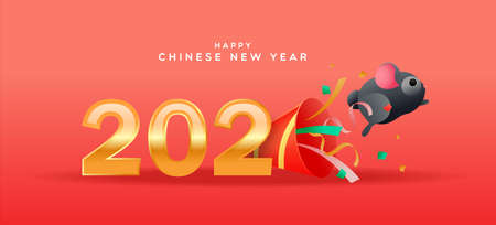 Illustration for Happy Chinese New Year of the rat greeting card, cute funny mouse or hamster pet jumping from party popper in 3d cartoon style with gold 2020 calendar number date. - Royalty Free Image