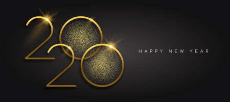 Illustrazione per Happy New Year 2020 gold luxury greeting card design. Calendar date number sign with golden glitter dust on black background. - Immagini Royalty Free