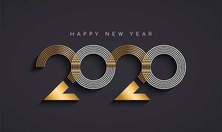 Ilustración de Happy New Year greeting card illustration of modern abstract holiday calendar number sign in elegant gold color. Luxury metal typography design for 2020 years eve. - Imagen libre de derechos