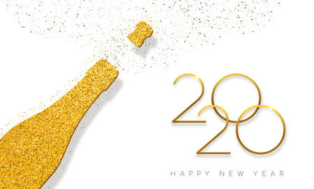 Illustrazione per Happy new year 2020 luxury gold champagne bottle made of golden glitter dust. Ideal for greeting card or elegant holiday party invitation.  - Immagini Royalty Free