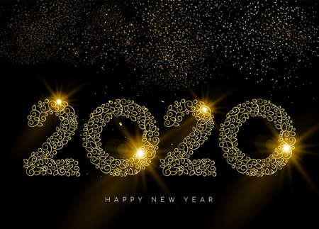Illustration for Happy New Year greeting card. Linear 2020 deco sign in gold monogram ornament style on night sky background with fireworks. - Royalty Free Image
