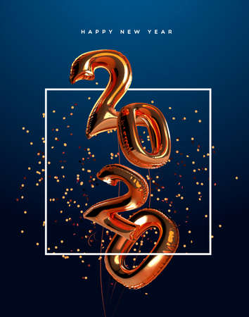 Illustration pour Happy New Year 2020 greeting card of realistic 3d copper foil balloon number on elegant party confetti background. Mylar balloons typography quote sign for holiday eve invitation or season event. - image libre de droit