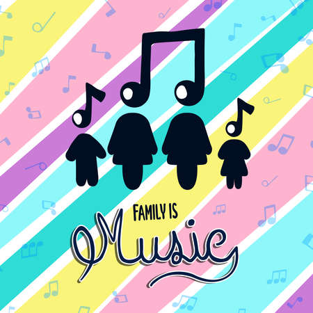 Ilustración de Family is music text quote illustration for musical relationship concept. Mom, dad, children cartoon with sound note background in pastel color. - Imagen libre de derechos