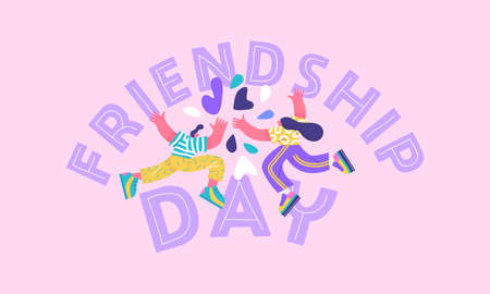 Ilustración de Happy friendship day greeting card illustration of young man and woman friends doing high five hand gesture together. Special best friend relationship celebration, colorful flat cartoon characters. - Imagen libre de derechos