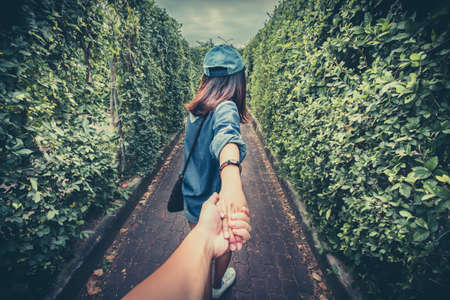 Photo for Hand Holding hand, Point of view. - Royalty Free Image