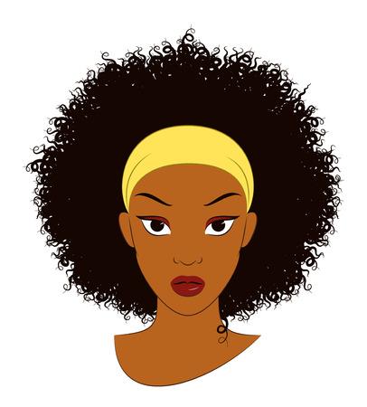 Ilustración de Afro Girl. Vector Illustration of an Afro Girl with Curly Hair - Imagen libre de derechos