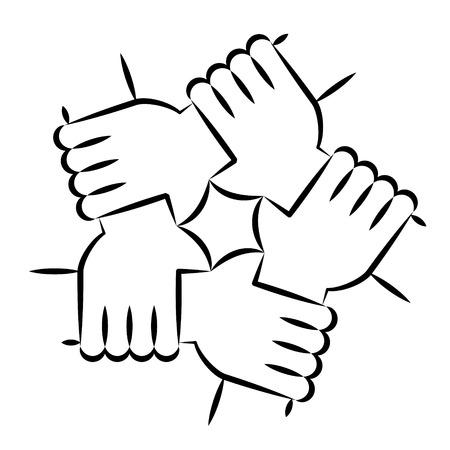 Ilustración de Vector Illustration Of Five Human Hands Holding Eachother For Solidarity And Unity - Imagen libre de derechos