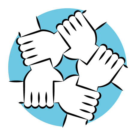 Illustration pour Vector Illustration Of Five Human Hands Holding Eachother For Solidarity And Unity - image libre de droit