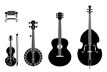 Illustration pour Country Music Instruments Silhouettes With Strings. Vector Illustration Of Musical Instruments Silhouettes Of A Regular, Traditional Country Music Band. - image libre de droit