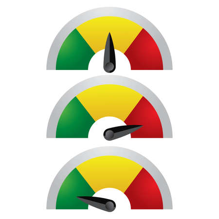 Ilustración de Rating Meter includes 3 type of indicator such as Amber Green & Red.You may enhance this once download. - Imagen libre de derechos