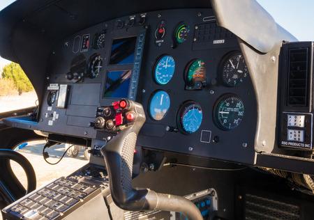 Foto de Pilot position of a helicopter. We observe all flight control commands. - Imagen libre de derechos