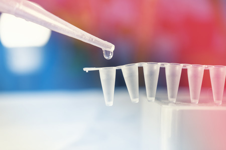 Foto de Stem Cell Research with Pipette and vials - Imagen libre de derechos