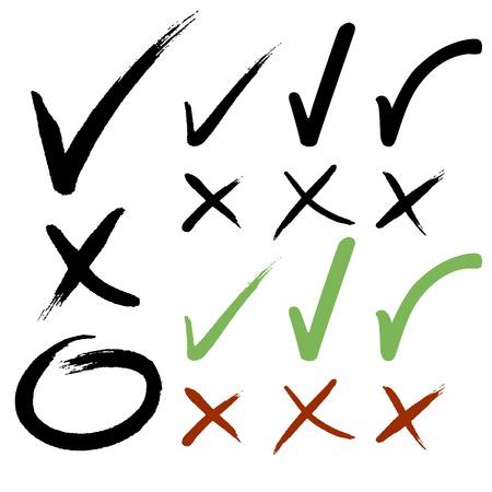 Illustration pour Hand drawn Check mark buttons  Vector illustration  - image libre de droit